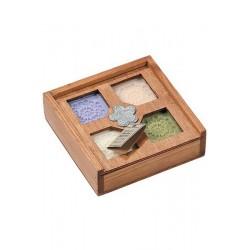 4 savons boite en bois avec pièce métal